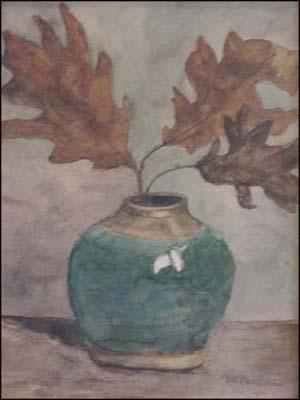 Tak met eikenbladeren in een gemberpot