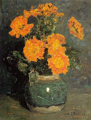Gemberpot met goudsbloemen